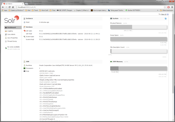 freshly installed solr 5.5.2 instance running on ubuntu