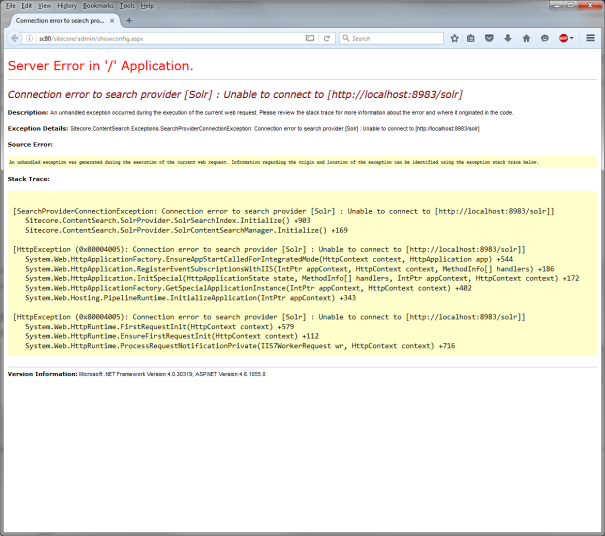 Connection error to search provider [Solr] : Unable to connect to [http://localhost:8983/solr]
